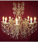 19th Century Elegant Crystal Drop 8 Light Chandelier.