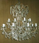 19th Century Elegant Crystal Drop 12 Light Chandelier.