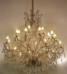 Antique Crystal Drop 24 Light Hale Style Chandelier.