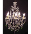 19th Century Colour Crystal Drop 9 Light Chandelier.