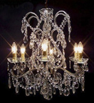 Antique Pristine Crystal Drop 6 Light Chandelier.