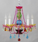 Small Murano Glass Chandelier With Bead and Crystal