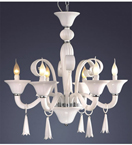 6 Light Coloured Murano Style Glass Chandelier
