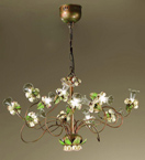 Roseto Design Chandelier With Painted Rose Details & Clear Glass
