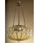 Soffiati Design Chandelier Made In Iron With Blown Glass