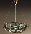 Decó Design metal chandelier with murano glass details