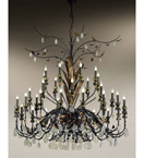 Accuracy Design chandelier with crystal drop and leaf details