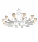 Braided Design Blown Glass with Wicker Frame 12 light Chandelier