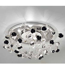 Paris Design Chrome Framed Flush Chandelier with Black Roses