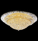 Surface mounted 22 light spiked crystal chandelier